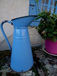 Vintage French Enamel pitcher jug water blue tall 14""