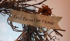 Primitive Burlap Ribbon Banner God Bless Our Home Ornament Garland Sign New