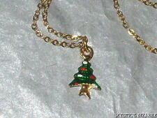 VINTAGE GOLD TONE GREEN RED WHITE ENAMEL CHRISTMAS TREE PENDANT NECKLACE