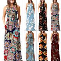 US Women Boho Floral Kaftan Long Maxi Dress Summer Beach Evening Party Sundress