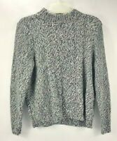Land's End Womens Mock Neck Cable Knit Chunky Cotton Sweater Black White XL (18)