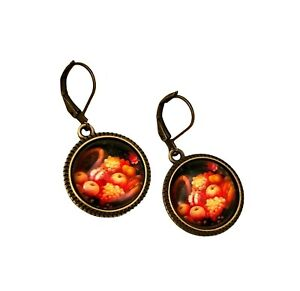 Thanksgiving Autumn Harvest Antiqued Gold Bronze Cabochon Leverback Earrings