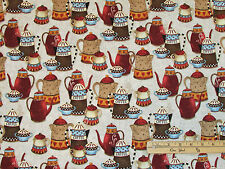Coffee House Esspresso Java KETTLE Cup POT Bean Fabric by the 1/2 yd #9955