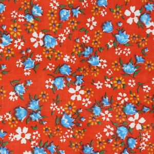 """3/4 Yard Vintage Fabric 35"""" Wide x 27"""" Red with Blue Floral"""