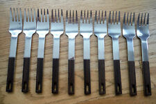New listing 10 Oxford Hall Mid Century Modern Synthetic Wood Handle Stainless Flatware Forks