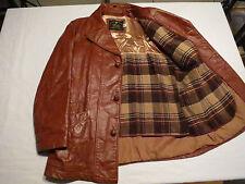 Vtg Mens USA Made Leather Plaid Lined Car Western Brown Biker Jacket Coat Sz 42
