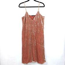 NEW Theory Sz 10 Velvet Dress Pink Rose Drape Crinkle Spaghetti Strap Rayon Silk