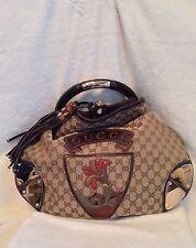 GUCCI XL Snakeskin Flower Crest Tassel INDY Handbag