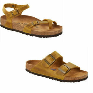 Birkenstock Taormina Arizona Ochre Yellow Sandals Slides Leather Ankle Strap