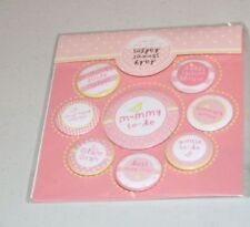 8 Pink baby showers badges mummys little helpers