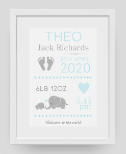 Personalised Christening Birth Keepsake Baby Gift Poster Print Picture A4 PR183
