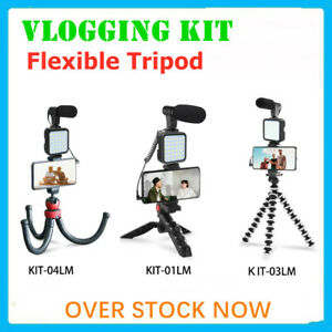 Smartphone LED Vlog Video Kit Audio Record Microphone Tripod w/Bluetooth Remote