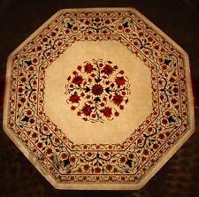 Coffee table octagonal Inlay semiprecious stones white marble top Taj Mahal Art