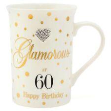 Glamorous at 60 Happy Birthday Diamante Mug Mad Dots Collection