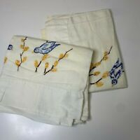 vintage pillowcase sham set pair 2 color white embroidered blue bird print
