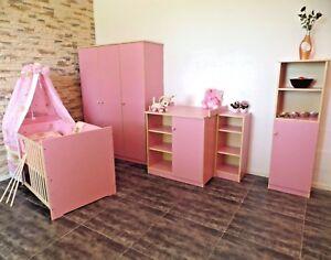 Babyzimmer Komplett Set Gitterbett 5Farben Schrank Wickelkommode Bett ROSA weiß