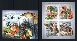 TOGO 2011 ANNEE INT CHAUVE-SOURIS BATS MICE MOUSE NIGHT WILD ANIMALS STAMPS MNH
