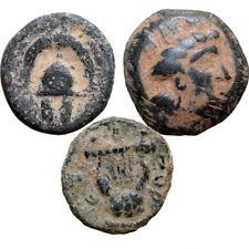 LOT OF 3 ANCIENT GREEK BRONZE COINS CIRCA 350-100 BC