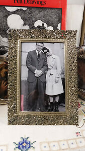 Vintage Italian Pierced Silvered Bronze Photo Frame with Convex Glass Front