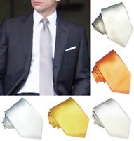 Cravatta uomo grigio arancio bianco 100% seta Made in Italy largh. 8cm RP € 38