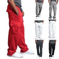 US Men's Jogger GYM Heavy Weight Fleece Cargo Pocket Sweat Pants With Drawstring