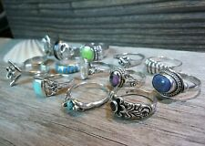 Vintage Assortment of (14) Sterling Silver Rings with Gemstones