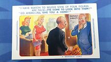 Bamforth Comic Postcard 1950s Blonde Large Boobs INCOME TAX Figures Accountant