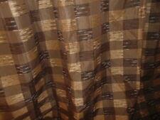 CROSCILL WOODLANDER BROWN GOLD PLAID JACQUARD TEXTURED SHOWER CURTAIN 72 X 75