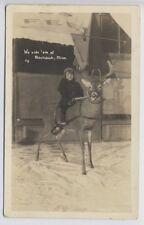 BLACKDUCK MN Minnesota c1920 RP Girl Riding Whitetail Deer