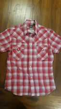 G-Star raw red check collar shirt pearl color buttons szM free post D68