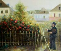 Renoir's Monet Painting in His Garden Repro, Hand Painted Oil Painting 20x24in