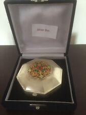 Cased SILVER Ciondolo/portagioie con pietre colorate sul coperchio