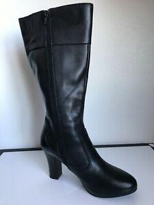 A.N.A  Approach Boots SZ 8.5 M Brown Leather Knee High Zip Block Heel