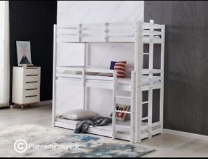Bunk Bed Wooden frame triple sleeper children 3ft adult 3 tier bunk bed White