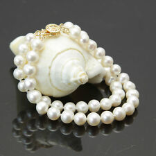 """New 2 rows 7-8mm white freshwater cultured pearl bracelet 7.5"""""""
