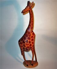 Old GIRAFFE Hand Carved Wood Art Sculpture Statue Figurine Vintage Antique Large