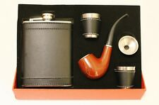 Flask Stainless Steel Smoking Pipe Shot Glass Set Tobacco Pipe BLACK