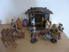 Vintage 18pc Composition + Wood Nativity Scene Germany