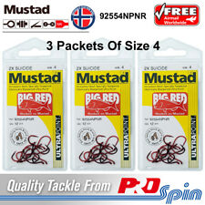 3 Packets Mustad Big Red Hooks Size 4 Chemically Sharpened 2X Strong 92554NPNR