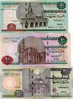 2004 EGYPTIAN UN 5,10,20 POUNDS NOTES SAME LOW SERIAL NUMBER 0000645 HARD TO FIN
