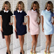 Women Peter Pan Collar Summer Casual Shirt Dress Party Bodycon Short Mini Dress
