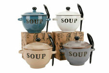 Natural Coloured Ceramic Soup Bowls With Spoon & Lid With Box Ideal Novelty Gift