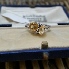 CITRINE AND TOPAZ 925 STERLING SILVER RING, TWO STONE RING, SIZE N½, NEW