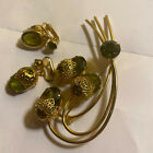 Vintage Jewelry Set By Designer D&E Brooch & Earrings Signed Sarah Coventry