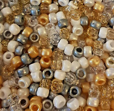 100 Gold Angel Mix Silver White Pearl Glitter Pony Beads Loom Bands Dummy Clip