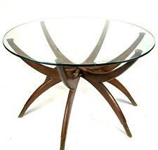 1960s Vintage Danish Modern 6 Leg Spider Coffee Side Table w/ Glass Top~Folds!