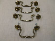 4 NOS Antique Brass Swan Neck Drop Bail Drawer Pull Handles w/screws 3-1/2