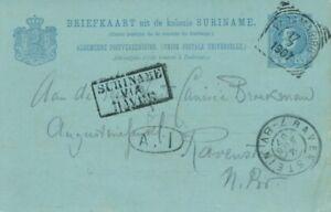 1907 SURINAME PARAMARIBO > RAVENSTEIN BRIEFKAART COVER CARD VIA FRANCE ENTIER