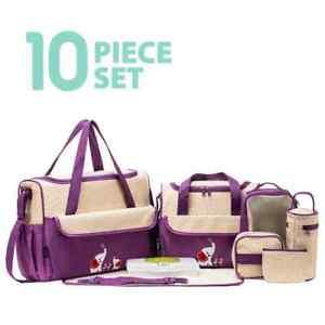 Ellie & Luke Animal Tote Diaper Bag 10 Piece Set