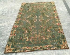 Vintage French Handmade Aubusson Rug Needle Point Green Wool Repair Area Rug
